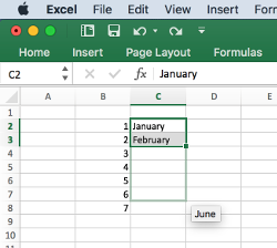 Excel - showing prediction